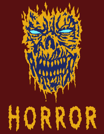 Scary monster shabby head. Vector illustration. Genre of horror. Spooky face poster. States of mind.