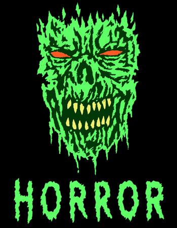 cleft: Green angry monster shabby head. Vector illustration. Scary monster face. Genre of horror. States of mind.