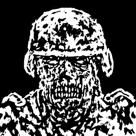 Scary zombie soldier concept. Vector illustration. Black and white colors. Genre of horror. Scary monster face. States of mind.