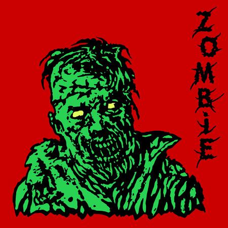 Danger zombie. Vector illustration. States of mind. Genre of horror. Red background.