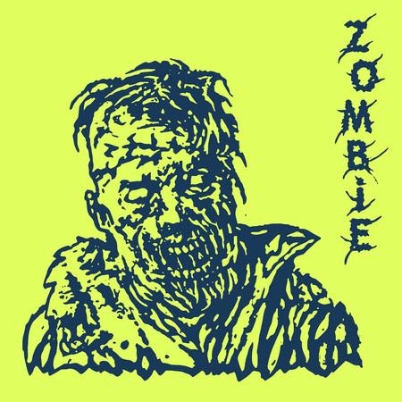 daemon: Danger zombie. Vector illustration. Genre of horror. States of mind. Green background.