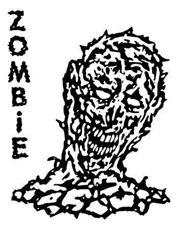incubus: Toxic resurrected from a dead zombie. Vector illustration. Black and white colors. Genre of horror.