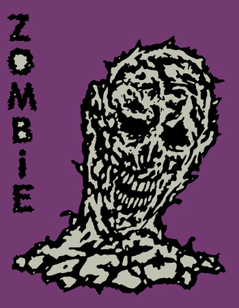 Toxic head of zombie. Vector illustration. States of mind. Genre of horror.