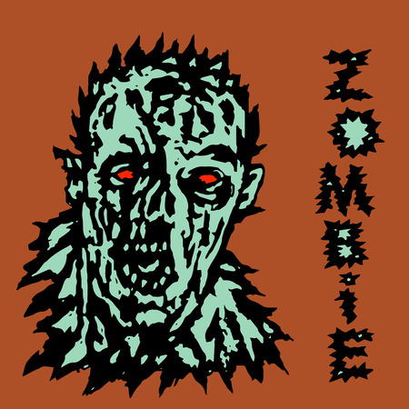 Wrath of the zombie. Vector illustration. Scary monster face. Illustration