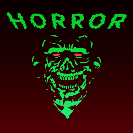 Spooky green zombie face. Vector illustration. The horror genre. Scary monster character.