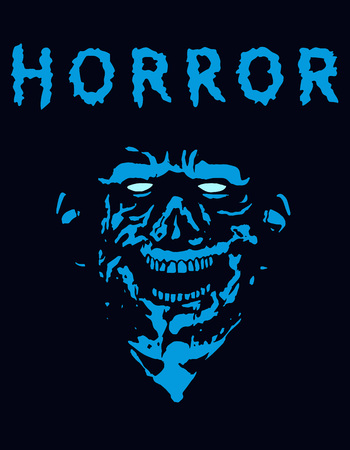 Rabid zombie in blue color. Vector illustration. The genre of horror. Illustration