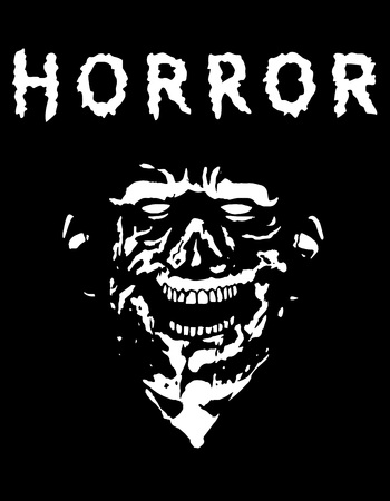 Spooky zombie head with torn face. Black and white colors. Vector illustration. Scary monster character.