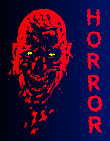 Screaming vampire head in red and blue colors. Vector illustration. Scary bloody monster character. The genre of horror.