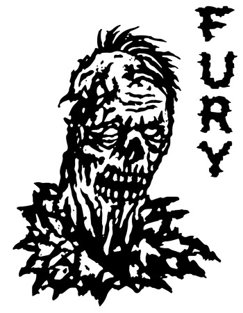 frenzy: Fury zombie. Vector illustration. Black and white colors. Genre of horror. States of min
