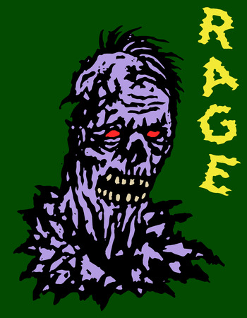 Rage zombie head. Vector illustration. Genre of horror. Green background. States of mind. Illustration
