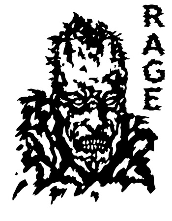 incubus: Rage zombie face poster. Isolated vector illustration. Black and white colors. Genre of horror. Illustration