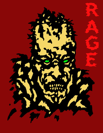 incubus: Rage zombie head cover. Vector illustration. Genre of horror. Red background. Illustration