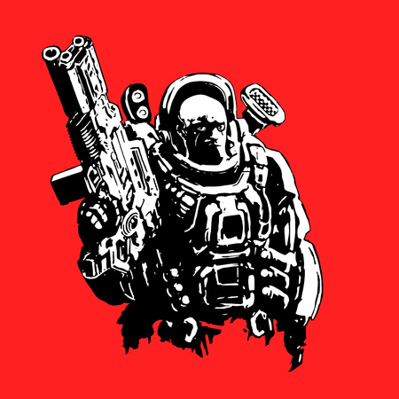 Heavy space marine in suit with large plasma rifle. Science fiction original character the soldier of the future. Vector illustration. Red background. Illustration