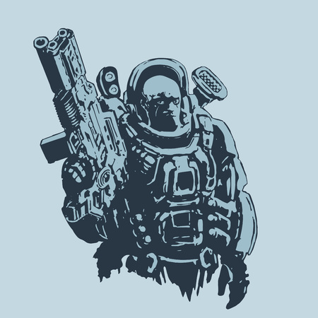 Heavy space marine in suit with large plasma gun. Science fiction original character the soldier of the future. Vector illustration. Blue background.