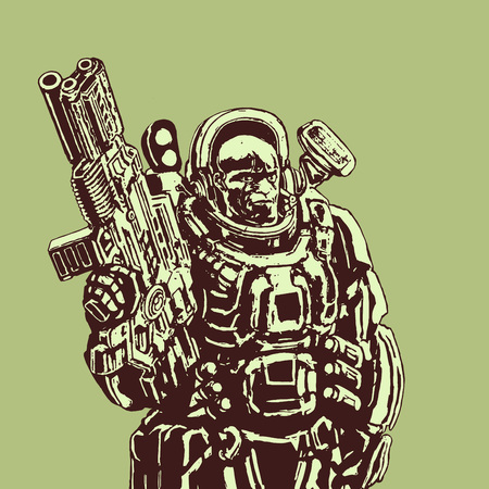 Heavy space marine in suit with large plasma rifle. Science fiction original character the soldier of the future. Vector illustration. Green background.