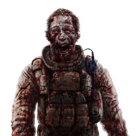 incubus: Zombie soldier shout concept. Drawing character illustration. Scary face picture. Genre of horror. Stock Photo