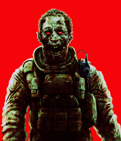 Zombie soldier shout concept. Drawing character illustration. Scary face picture. Red color background. Genre of horror.