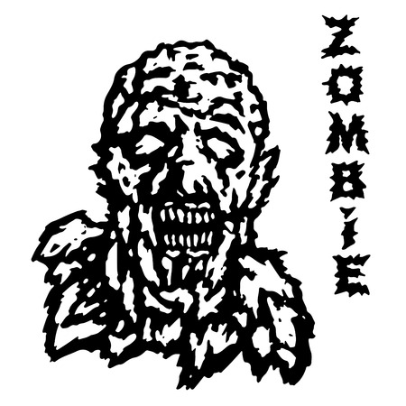 incubus: The head of the ghoul zombie. Vector illustration. Scary character face. The genre of horror.