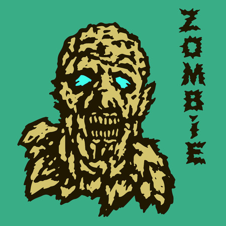 morsel: The head of the ghoul zombie. Vector illustration. The horror genre. Scary character face.