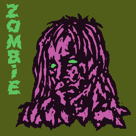Zombie vampire female. Vector illustration. Scary head of woman character. The horror genre. Illustration