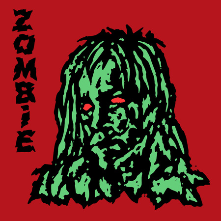 Zombie vampire female. Green face of a demon woman. Vector illustration. Scary head character. The horror genre. Red background. Illustration