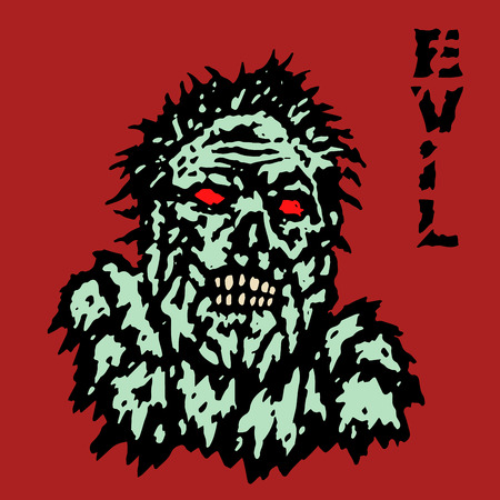 incubus: Fury zombie monster face. Horror image. Vector illustration. Genre of horror. Scary character evil head.
