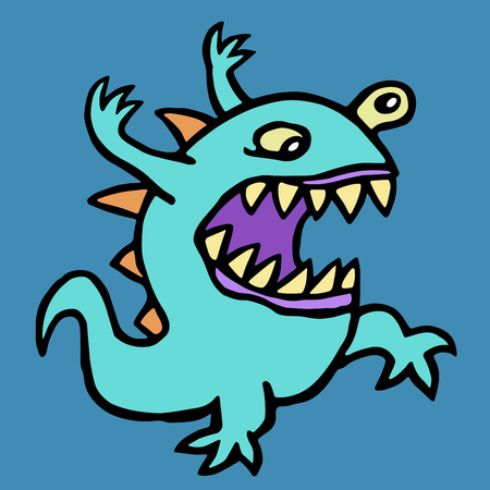 Aggressive cartoon alien. Vector illustration. Cute imaginary monster character. Fantasy creature.