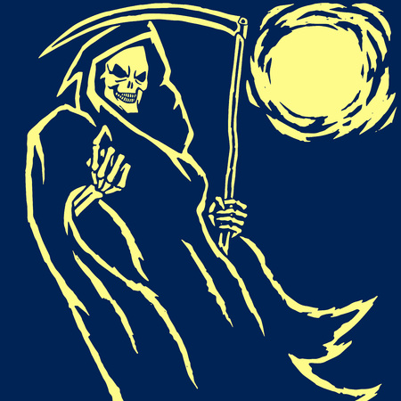 Death Phantom Reaper Vector Illustration. Scary Horror Character Face. Graphic Design. Digital Freehand Drawing. Ghost Flat Demon. Blue Background. Web Icon.