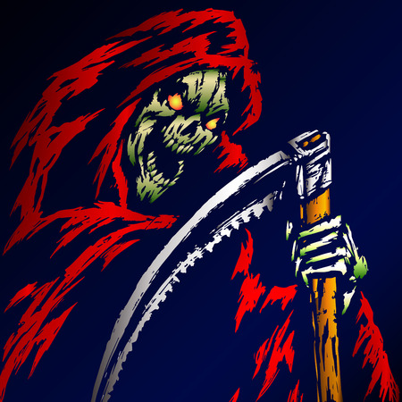 Red Death with a Scythe. Blue Background. Web Icon. Isolated Flat Vector Illustration. Apocalypse Demon. Ghost Skeleton.