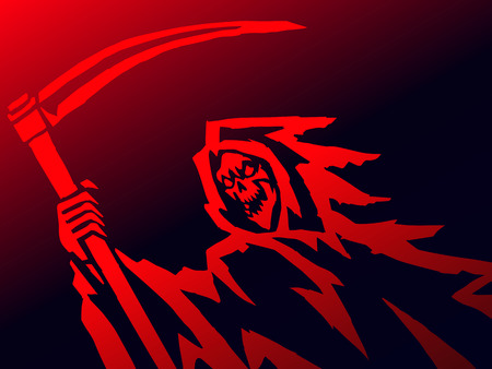 grim death with a scythe. evil character causing fear. vector Illustration. Illustration