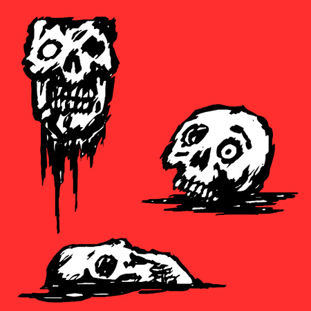 Zombie broken skull set. Red background. Collection of horrors. Vector illustration Illustration