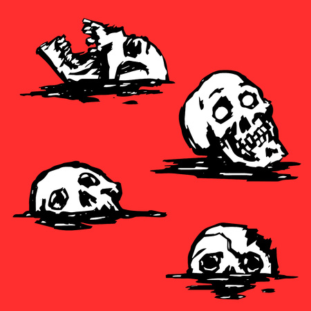 Graphic creepy skull set. Collection of horrors. Red background. Vector illustration