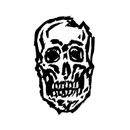 Cracked spooky skull. Horror character. Creepy,mask. Vector illustration