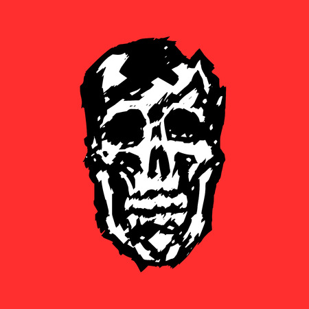 Crashed human skull. Horror character. Creepy,mask. Vector illustration