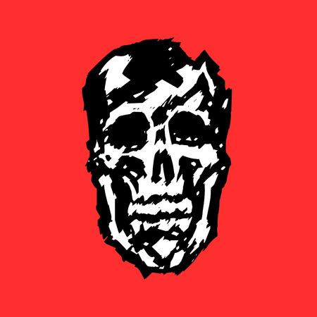 Crashed human skull. Horror character. Creepy,mask. Vector illustration