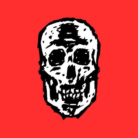 Scary grim skull. Horror character. Creepy,mask. Red background. Vector illustration