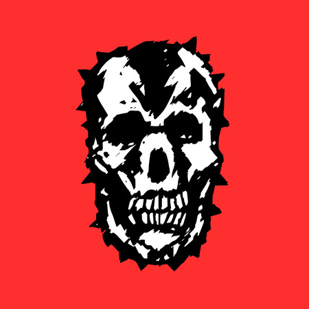 Apocalypse demon skull. Horror character. Creepy,mask. Red background. Vector illustration