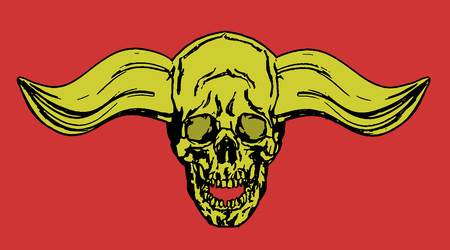 Skull of a human with horns. Vector illustration. The horror picture to Halloween.