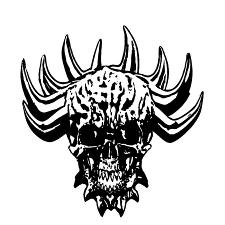 Skull of a demon with crown of thorns. Vector illustration. The horror picture to Halloween.