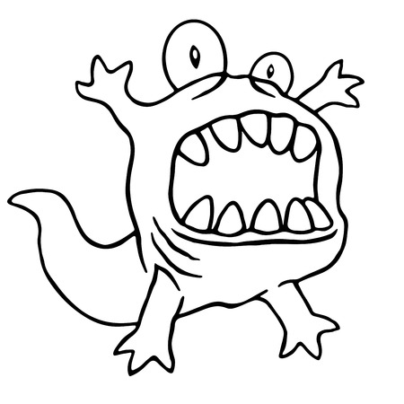 Cartoon monster big head. Vector illustration. Funny cute tadpole character.