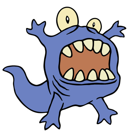 Cute tadpole monster. Vector illustration. Funny cute emoticon character.