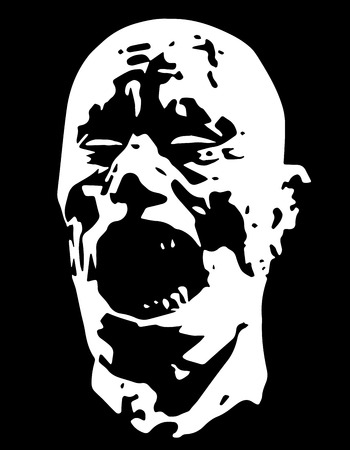incubus: Zombie demon screams head. Vector illustration. Scary character face. Black and white colors. The horror genre.
