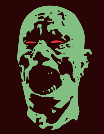 Green zombie screams head. Vector illustration. Scary character face. The horror genre. Ilustrace