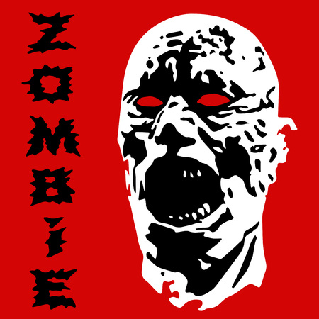 Angry zombie screams head. Vector illustration. Scary character face. The horror genre. 向量圖像