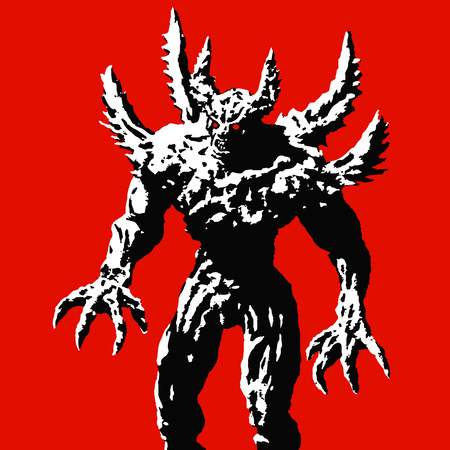 Horned monster with spikes stands ready to attack. Vector illustration on red background. Scary character. The horror genre. Illustration