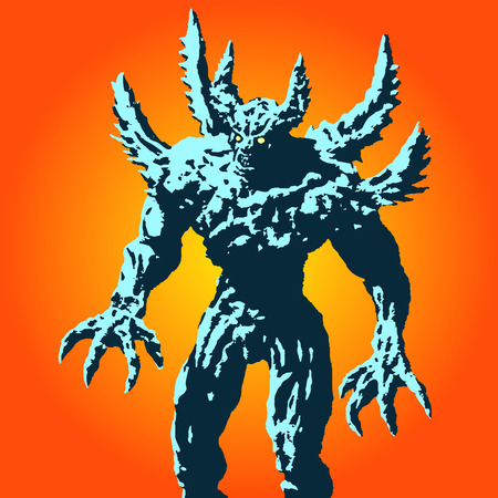 Angry horned monster with spikes stands ready to attack. Vector illustration on orange background. Scary character. The horror genre.