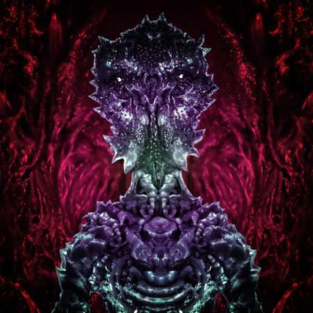 Alien martian astronaut sits inside his ship in bionic suit. Science fiction illustration. Original character the astronaut invader on an abstract red background.