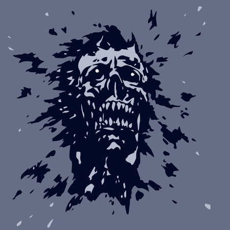 Angry screaming ghoul vampire head Illustration