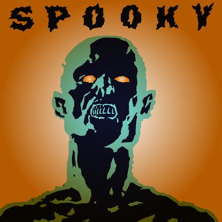 Scary screaming grim demon head Illustration