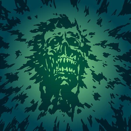 Gruseliger Kopf des Dämons mit einem zerrissenen Gesicht
